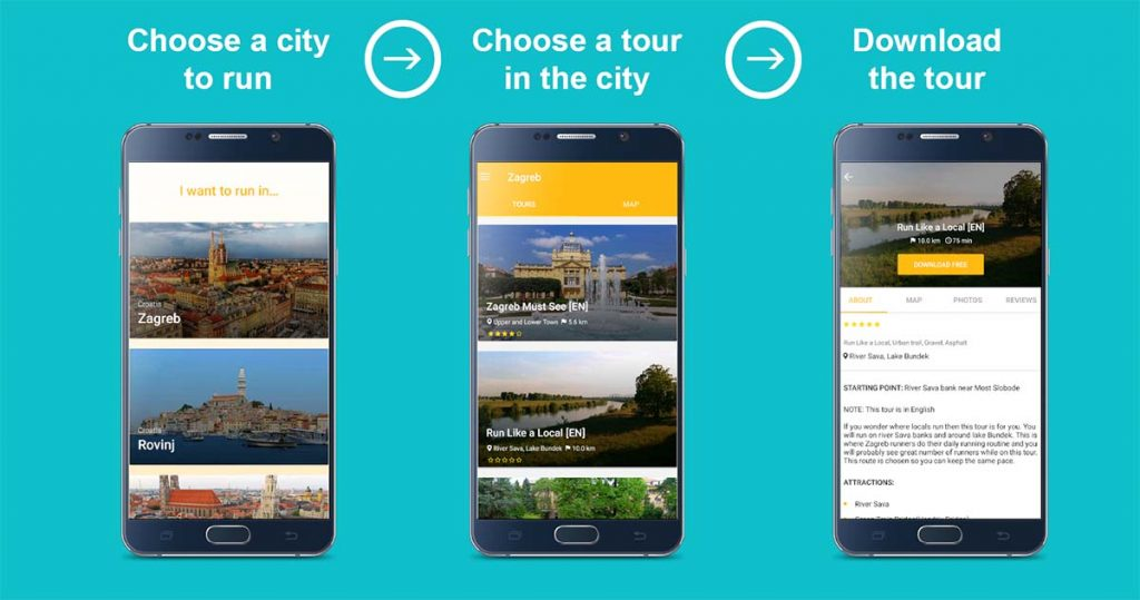 SightRun mobile app choose the city